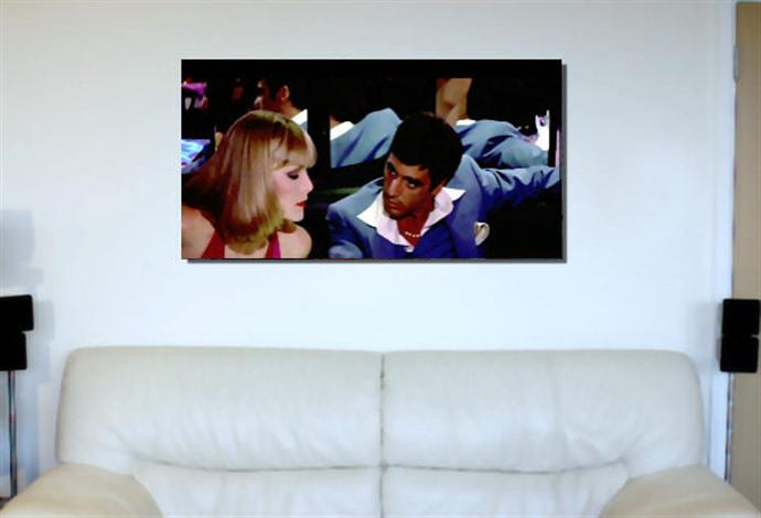 Depiction of scarface6 on a drawing room wall.