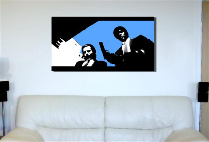 Depiction of pulpfiction1 on a drawing room wall.